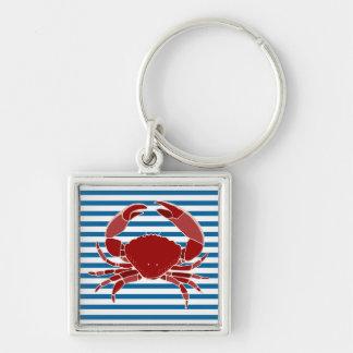 Red Crab Blue and White Horizontal Stripe Keychain