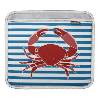 Red Crab Blue and White Stripe Sleeve For iPads
