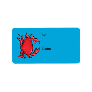 Red Crab blue Gift Tag
