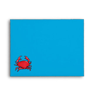 Red Crab blue Note Card Envelope