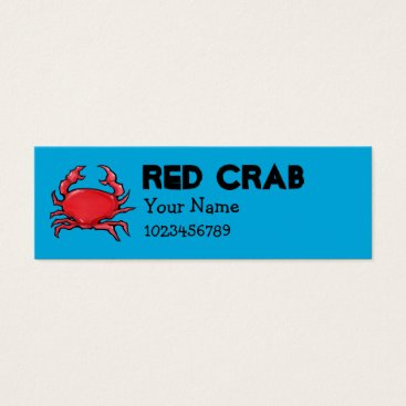Professional Business Red Crab blue small Business Card