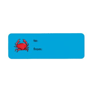 Red Crab blue small Gift Tag label