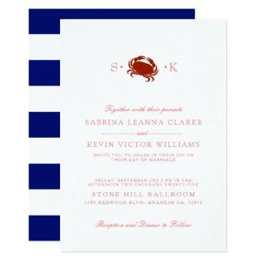 Beach Themed Red Crab | Blue Stripes Wedding Invitation