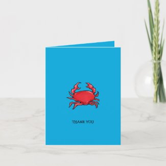 Red Crab blue Thank You Note Card card