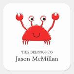 Red Crab Bookplates    I.D. Labels Square Sticker