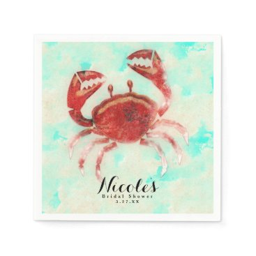 Beach Themed Red Crab Elegant Beach Engagement Custom Party Napkin