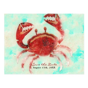 Beach Themed Red Crab Elegant Beach Engagement Save the Date Postcard