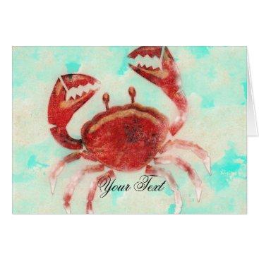 Beach Themed Red Crab Elegant Beach Engagement Thank You Card