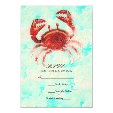 Beach Themed Red Crab Elegant Beach Engagement Wedding RSVP Card