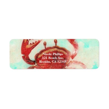 Beach Themed Red Crab Elegant Beach Party Engagement Invitation Label