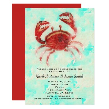 Beach Themed Red Crab Elegant Beach Party Engagement Shower Card