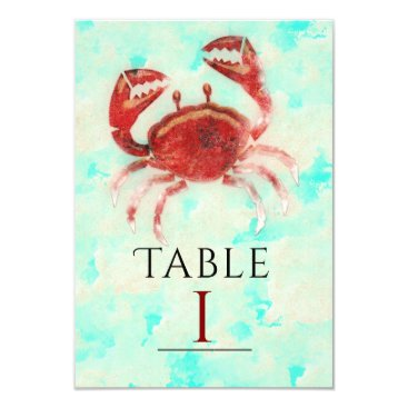 Beach Themed Red Crab Elegant Beach Party Table Number Card