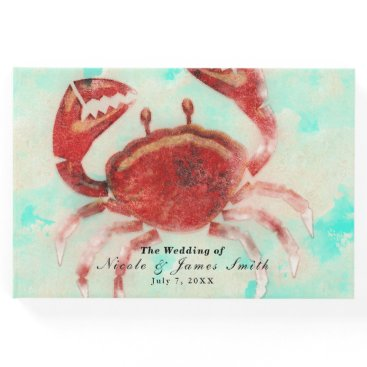 Beach Themed Red Crab Elegant Beach Personalized Wedding Party Guest Book