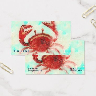 Beach Themed Red Crab Elegant Beach Sea Food Kitchen Custom Business Card