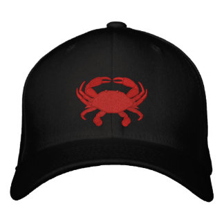Red Crab Embroidered Cap Embroidered Hats