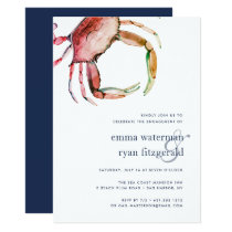 Red Crab Engagement Party Invitation