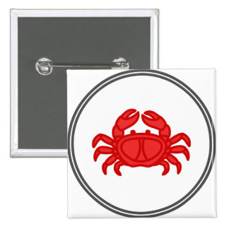 Red Crab - Fish Prawn Crab Collection 2 Inch Square Button