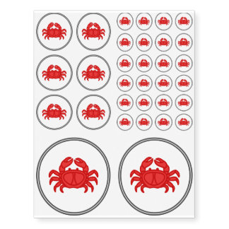 Red Crab - Fish Prawn Crab Collection Temporary Tattoos