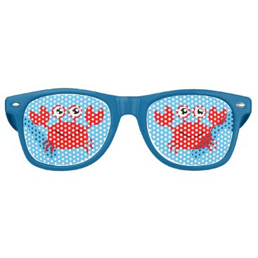 Beach Themed Red Crab Happy Beach Vacation Retro Sunglasses