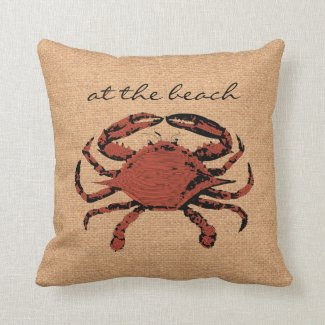 Red Crab Illustration - Nautical Burlap Beach Home Throw Pillow