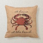 Red Crab Illustration Nautical Burlap Beach - Home Throw Pillow