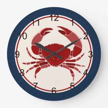 Beach Themed Red Crab Large Clock