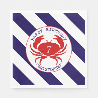 Red Crab Nautical Birthday Party Napkin