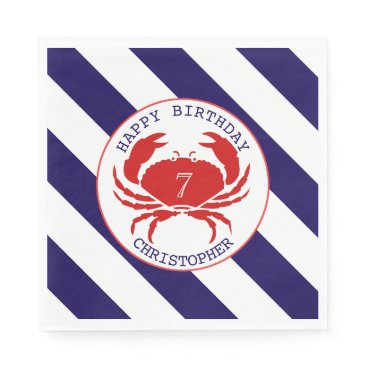 Beach Themed Red Crab Nautical Birthday Party Napkin