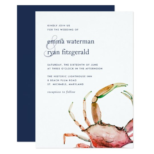 Nautical Wedding Invitations.Red Crab Nautical Wedding Invitation