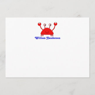Red Crab Note Cards \ Thank You Cards
