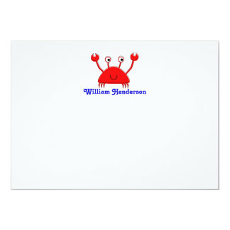 Red Crab Note Cards \ Thank You Cards Personalized Invitations