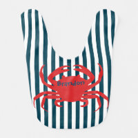 Red Crab on Nautical Stripes Bib