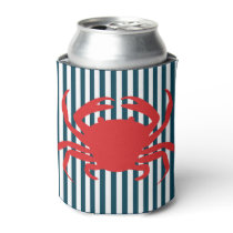 Red Crab on Nautical Stripes Can Cooler
