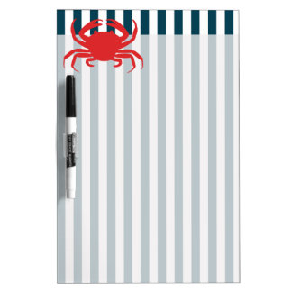 Red Crab on Nautical Stripes Dry-Erase Board