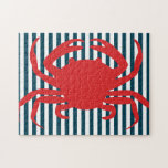 Red Crab on Nautical Stripes Jigsaw Puzzle