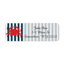 Red Crab on Nautical Stripes Label