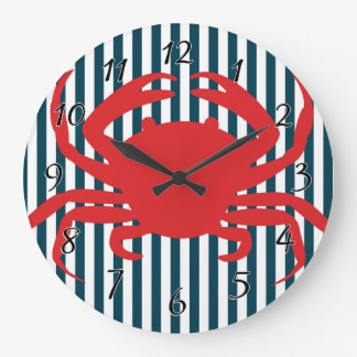 Red Crab on Nautical Stripes Large Clock