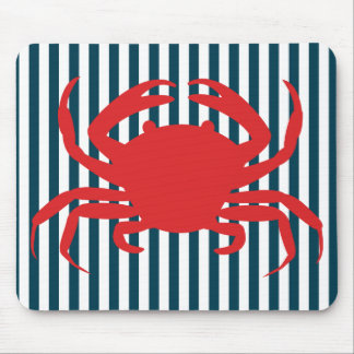 Red Crab on Nautical Stripes Mouse Pad