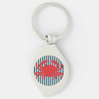 Red Crab on Nautical Stripes Key Chain