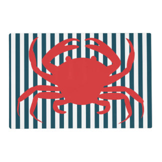 Red Crab on Nautical Stripes Placemat