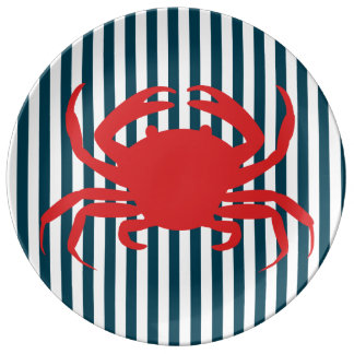 Red Crab on Nautical Stripes Plate