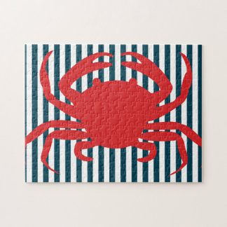 Red Crab on Nautical Stripes Puzzle