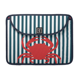 Red Crab on Nautical Stripes Sleeve For MacBook Pro