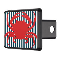Red Crab on Nautical Stripes Trailer Hitch Cover