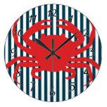 Red Crab on Nautical Stripes Wallclock