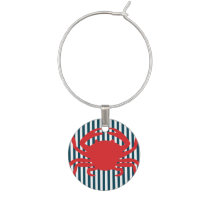 Red Crab on Nautical Stripes Wine Charm