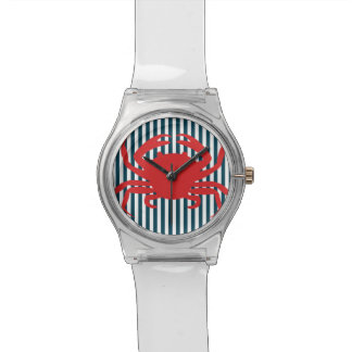 Red Crab on Nautical Stripes Wristwatch