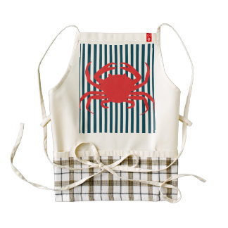 Red Crab on Nautical Stripes Zazzle HEART Apron