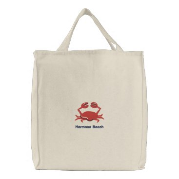 Beach Themed Red Crab Personalized Beach Embroidered Tote Bag