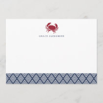 Red Crab Personalized Stationery Flat Cards